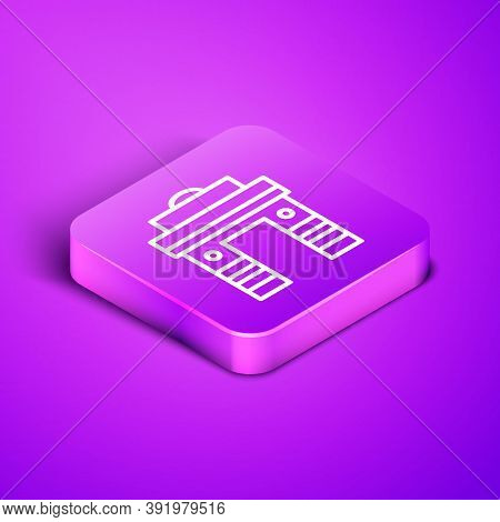 Isometric Line India Gate In New Delhi, India Icon Isolated On Purple Background. Gate Way Of India