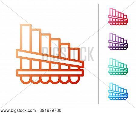 Red Line Pan Flute Icon Isolated On White Background. Traditional Peruvian Musical Instrument. Zampo