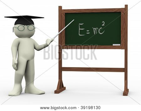 3d render of teacher and black board with written einsteins theory. Human character 3d illustration poster