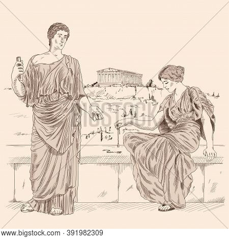 An Ancient Greek Poet Recites Poetry To A Woman Sitting On A Stone Parapet Against The Backdrop Of T