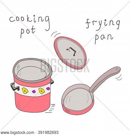 Red Cooking Pot And Frying Pan With Lid In Motion Eccentric Cartoon Sketch.  Doodle Vector Sketch Il
