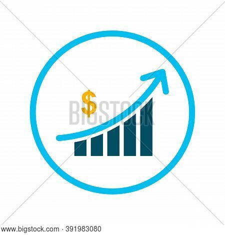 Sales Bar Chart Vector Icon. Style Is Bicolor Flat Circled Symbol, Blue And Gray Colors, Rounded Ang
