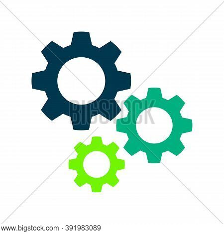 Gear Mechanism Flat Vector Icon. Colored Gear Mechanism Gray, Black, Blue, Green Icon Variants. Flat