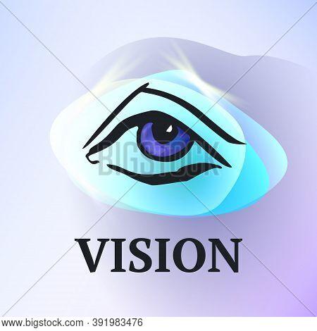 Eye Logo Design Template. Logo Design Layout For Medical Care. Optician Creative Symbol. Eye Icon. M