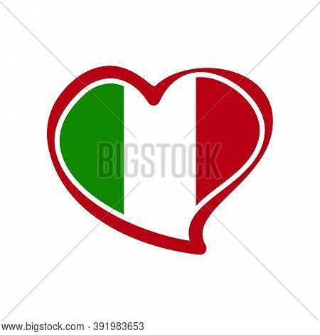 Love Italy, Heart Emblem National Flag Colored. Flag Of Italy With Heart Shape For Italian Republic