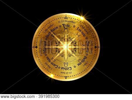Wheel Of The Year Is An Annual Cycle Of Seasonal Festivals. Old Gold Wiccan Calendar And Holidays. C
