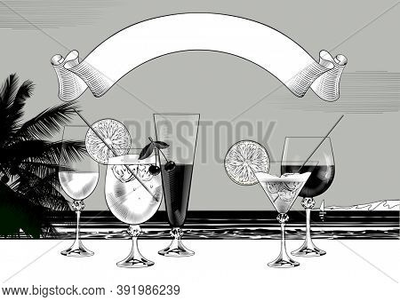 Set of wine glasses of different sizes and shapes with wines and cocktails against a sea background and ribbon banner. Vintage engraving stylized drawing.