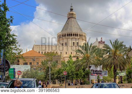Nazareth, Israel - May 7, 2011: The Basilica Of The Annunciation Is A Modern Christian Church, Which