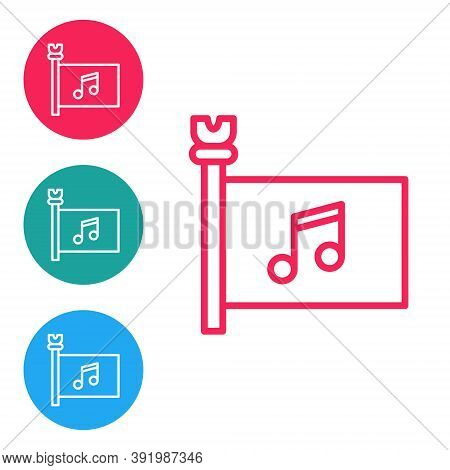 Red Line Music Festival, Access, Flag, Music Note Icon Isolated On White Background. Set Icons In Ci