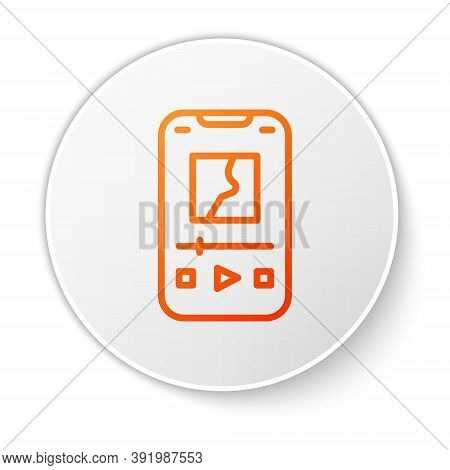 Orange Line Music Player Icon Isolated On White Background. Portable Music Device. White Circle Butt
