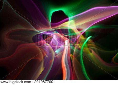 Abstract line motion of different colors, curves abstraction color explosion. Unrecognizable figure. Expressive sketch on a black background isolated