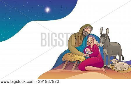 Christmas Holy Family Happy To See The Baby Jesus Holy Night. Vector Stock Illustration Greeting Car