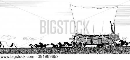 Wild West prairie landscape with covered wagon and flock of horses. Linear black and white drawing for coloring book