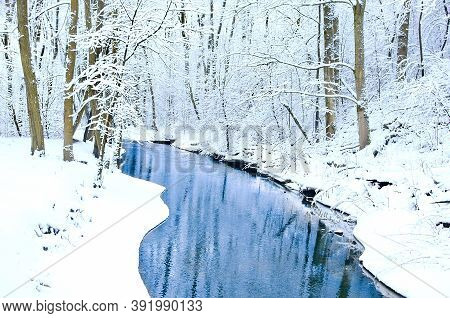 Winter River Landscape With Snow Covered Trees. River On The Forest. Trees Covered With Frost And Sn