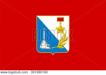 Flag Of Sevastopol In Republic Of Crimea Of Russia