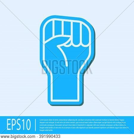 Blue Line Raised Hand With Clenched Fist Icon Isolated On Grey Background. Protester Raised Fist At