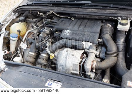 Primelin - France, February 21, 2018 : Engine Of A Peugeot 307 Car With Open Bonnet