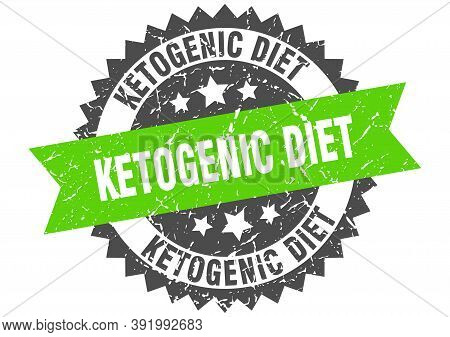 Ketogenic Diet Stamp. Grunge Round Sign With Ribbon