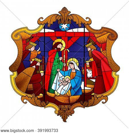 Stained glass window depicting Christmas scene in decorative baroque frame isolated on white