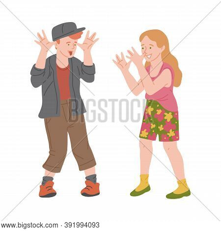 Naughty Ill-mannered Children Teasing, Flat Vector Illustration Isolated.