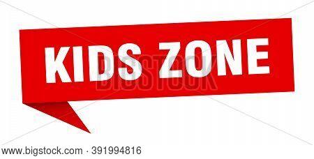 Kids Zone Speech Bubble. Kids Zone Ribbon Sign. Kids Zone Banner