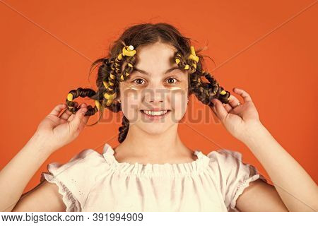 Look At That. Pose With Hair Curlers. Happy Girl In Hair Curlers Playing Hairdresser Salon. Easy Tip
