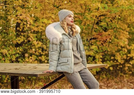 Model Knitwear Clothes Leaves Background. Warm Knitwear. Feel Practicality And Comfort. Woman Enjoy