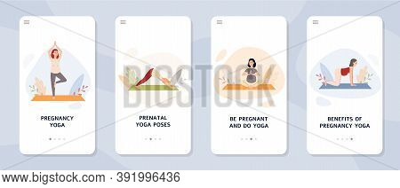Onboarding Pages For Prenatal Yoga With Pregnant Women Flat Vector Illustration.