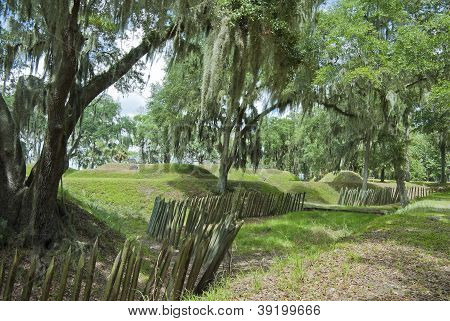 The earthworks and palisade at Fort McAllister Richmond Hills Georgia. poster