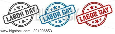 Labor Day Stamp. Labor Day Round Isolated Sign. Labor Day Label Set