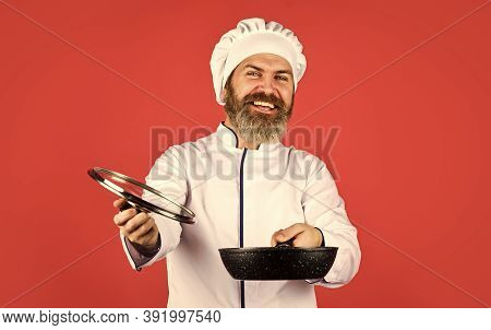 High Quality Frying Pan. Bearded Man Cook White Uniform. Homemade Breakfast. Cooking Like Pro. Easy