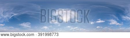 Seamless Clear Blue Sky Hdri Panorama 360 Degrees Angle View With Zenith And Beautiful Clouds For Us