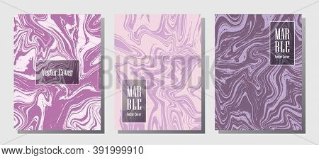 Minimal Marble Prints, Vector Cover Design Templates. Fluid Marble Stone Texture Iinteriors Fashion