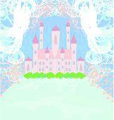Magic Fairy Tale Princess Castle , vector illustration poster