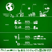 Connect to renewable energy - ecology background / eco energy concept with set of energy icons poster