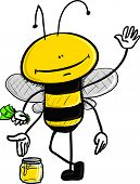 cartoon illustration of a bee holding dollars in his hand while selling honey poster