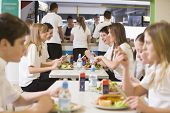 Students having lunch in dining hall poster