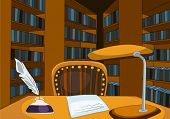 Library Room with Table and Bookshelfs. Vector Cartoon Background. poster