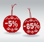 Discount price tags 5% and 85% off isolated on background poster