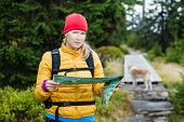 Woman hiking and reading map in forest hiker with dog Karkonosze Mountains in Poland poster