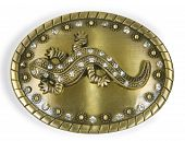oval brooch with lizard on white background poster