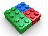 3d render of toy lego blocks presenting rgb - red green and blue colors poster