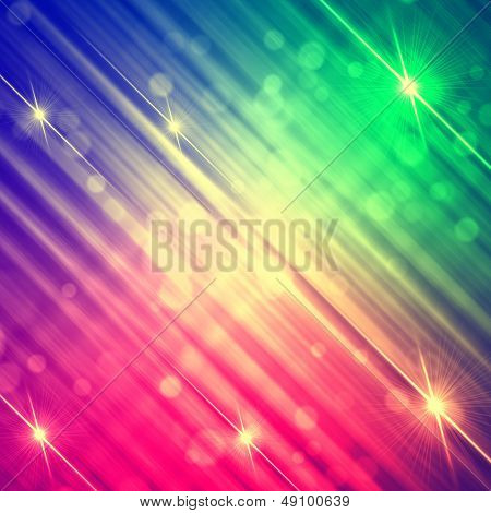 abstract rainbow background with shining yellow lines and stars pink violet green gradient poster