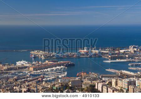 Port of Genoa landscape taken with polarizer filter poster