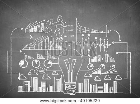Chalk drawn business plan sketch. Idea concept