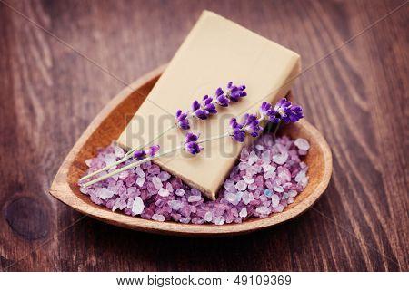natural soap and bowl of lavender bath salt - beauty treatment /shallow DOF/