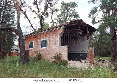 Abandoned military base checkpoint near Chernobyl alienation area.Ukraine,Radio communication centre