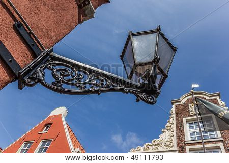 Old Black Lantern In The Center Of Leer