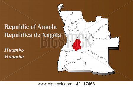 Angola - Huambo Highlighted
