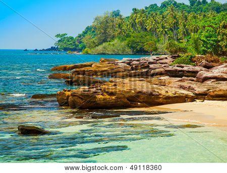 Stones at sunny beach